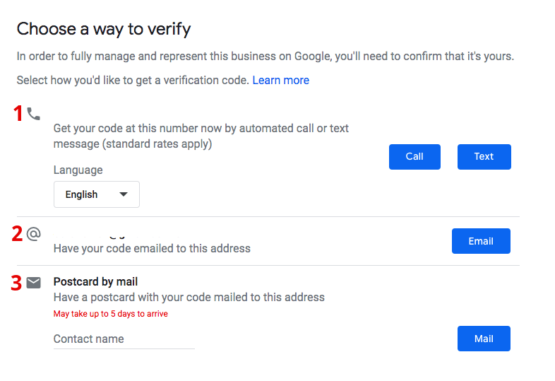 google listing verification options